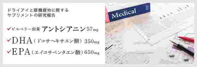 ドライアイと眼精疲労に関するサプリメントの研究報告 ビルべりー由来アントシアニン57mg DHA(ドコサヘキサエン酸)350mg EPA(エイコサペンタエン酸)650mg